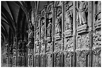 Carvings outside of Notre Dame Cathedral. Tournai, Belgium (black and white)