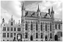Stadhuis, Belgium's oldest town hall. Bruges, Belgium (black and white)