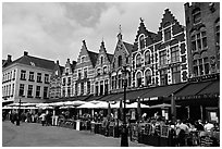 Restaurants and old houses on the Markt. Bruges, Belgium ( black and white)