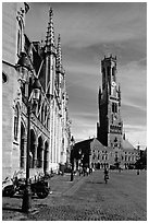 Belfry and Provinciaal Hof. Bruges, Belgium (black and white)