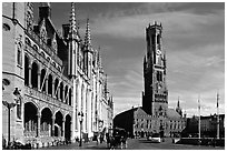 Provinciall Hof in neo-gothic style and beffroi. Bruges, Belgium (black and white)