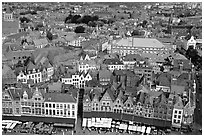 View of the town from the belfry. Bruges, Belgium ( black and white)