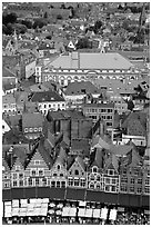 View of the town from tower of the hall. Bruges, Belgium ( black and white)