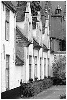 Whitewashed houses in the Beguinage. Bruges, Belgium (black and white)