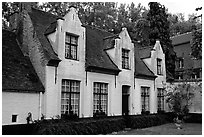 Whitewashed houses in the Begijnhof. Bruges, Belgium (black and white)