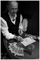 Lacemaker. Bruges, Belgium (black and white)