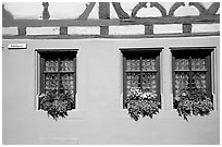 Detail of half-timbered house. Rothenburg ob der Tauber, Bavaria, Germany (black and white)
