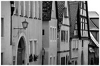 Row of colorful houses. Rothenburg ob der Tauber, Bavaria, Germany (black and white)