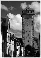 Tower of the rampart walls. Rothenburg ob der Tauber, Bavaria, Germany (black and white)