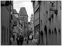 Old street. Rothenburg ob der Tauber, Bavaria, Germany (black and white)