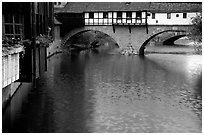 Timbered houses built accross the river. Nurnberg, Bavaria, Germany ( black and white)
