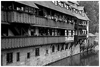 Timbered houses on the canal. Nurnberg, Bavaria, Germany ( black and white)
