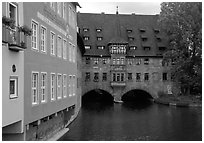 House built accross the river. Nurnberg, Bavaria, Germany ( black and white)