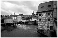 Houses and canal, Bamberg. Bavaria, Germany (black and white)