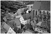 House rooftops and Kirche Sankt-Jakob seen from the Rathaus tower. Rothenburg ob der Tauber, Bavaria, Germany (black and white)