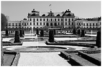 Park and royal residence of Drottningholm. Sweden ( black and white)