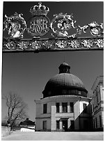 Entrance gate, royal residence of Drottningholm. Sweden ( black and white)