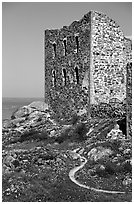 Ruins of the 16th century castle Brahehus near Granna. Gotaland, Sweden (black and white)