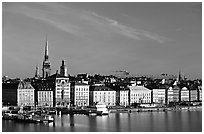 View of Gamla Stan across Salsjon. Stockholm, Sweden (black and white)