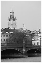 Bridge and church in Gamla Stan. Stockholm, Sweden (black and white)