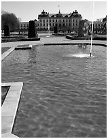 Basin in royal residence of Drottningholm. Sweden ( black and white)
