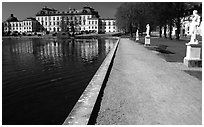 Basin and an alley in royal residence of Drottningholm. Sweden ( black and white)