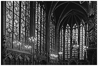 Sainte Chapelle haute covered with stained glass. Paris, France ( black and white)