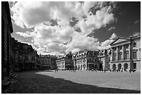 Entrance court of the Versailles Palace. France ( black and white)