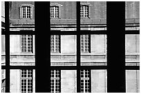 Versailles Palace walls seen from a window. France ( black and white)