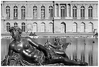 Statue, basin, and facade, afternoon, Palais de Versailles. France ( black and white)