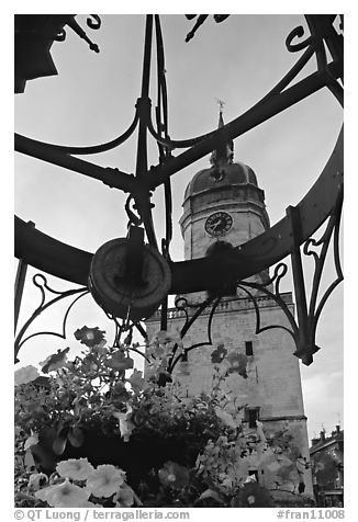 Flowers and clock tower,  Amiens. France (black and white)