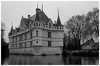Azay-le-rideau chateau. Loire Valley, France ( black and white)