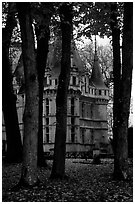 Azay-le-rideau chateau and Park. Loire Valley, France ( black and white)