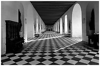 Gallery hall in the Chenonceaux chateau. Loire Valley, France (black and white)