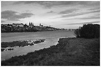 Blois across the Loire River. Loire Valley, France ( black and white)