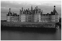 Chambord chateau at dusk. Loire Valley, France ( black and white)