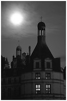 Detail of Chambord chateau with moon. Loire Valley, France ( black and white)