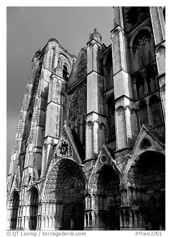 West Facade of Saint-Etienne Cathedral with unusual five-portal arrangement. Bourges, Berry, France (black and white)
