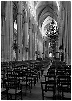 Inner aisle, the Saint-Etienne Cathedral. Bourges, Berry, France (black and white)