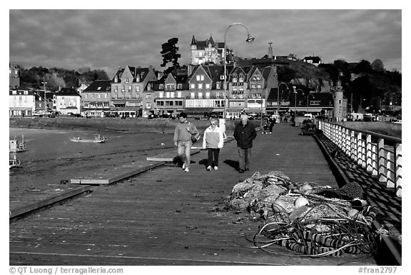 Pier and waterfront of Cancale. Brittany, France (black and white)