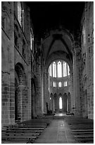 Austere chapel inside the Benedictine abbey. Mont Saint-Michel, Brittany, France ( black and white)