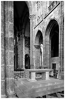 Chapel inside the Benedictine abbey. Mont Saint-Michel, Brittany, France ( black and white)