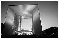 Grande Arche de la Defense at dusk. France ( black and white)