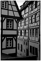 Half-timbered houses. Strasbourg, Alsace, France (black and white)