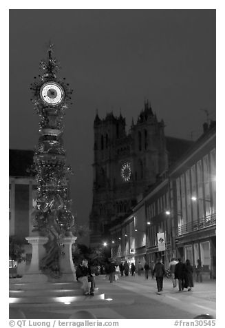 Dewailly Clock on the Marie-Sans-Chemise square by night, Amiens. France