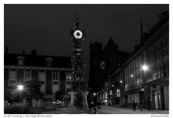 Place  Marie-Sans-Chemise and horloge Dewailly by night, Amiens. France (black and white)