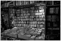 Checking a book in Shakespeare and Company bookstore. Quartier Latin, Paris, France ( black and white)
