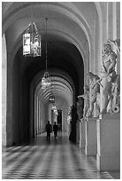 Versailles Palace corridor. France ( black and white)