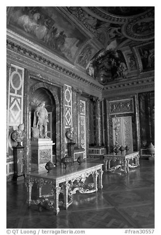 Versailles Palace room. France (black and white)