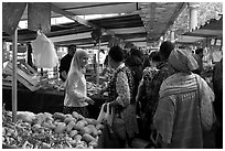 Popular street market. Paris, France ( black and white)